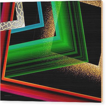 Red Green And Brown Abstract Art Wood Print by Mario Perez