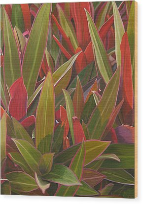 Wood Print featuring the painting Red Green And Purple by Thu Nguyen
