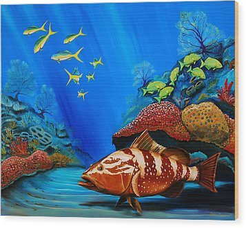 Red Grouper Wood Print by Steve Ozment