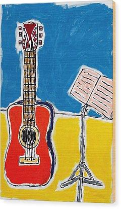 Red Guitar 1 Wood Print