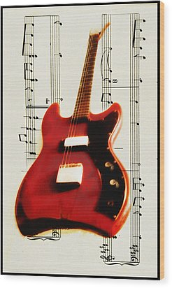 Red Guitar Wood Print by Bill Cannon