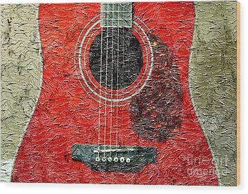 Red Guitar Center - Digital Painting - Music Wood Print by Barbara Griffin