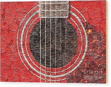 Red Guitar - Digital Painting - Music Wood Print by Barbara Griffin