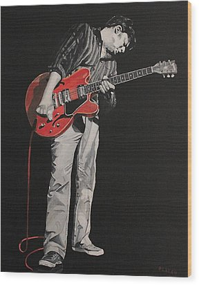 Red Guitar Wood Print by Patricio Lazen