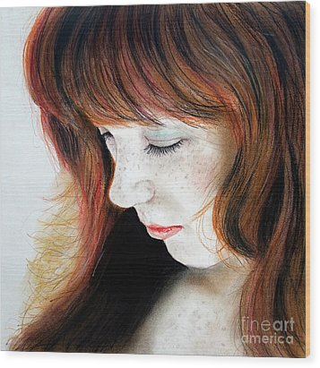 Red Hair And Freckled Beauty II Wood Print by Jim Fitzpatrick