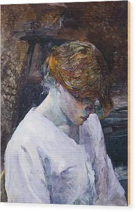 Red-haired Woman In White Camisole Wood Print by Henri de Toulouse Lautrec