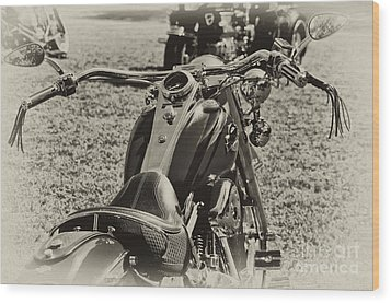 Wood Print featuring the photograph Red Harley Davidson by Wilma  Birdwell