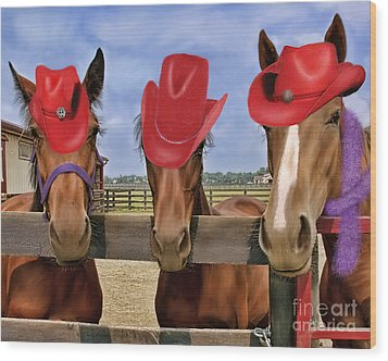 Red Hat Ladies Wood Print