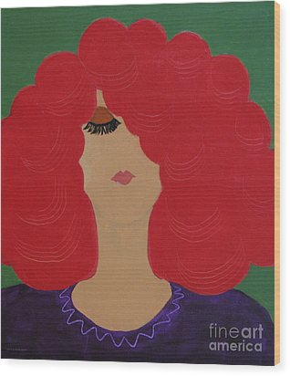 Wood Print featuring the painting Red Head by Anita Lewis