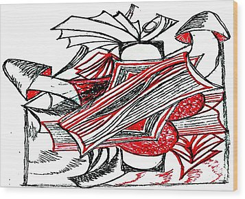 Red Heart Mushroom Wood Print by Becky Sterling