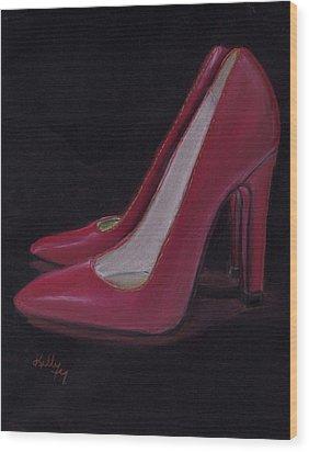 Red Heels Wood Print