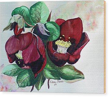 Red Helleborous Wood Print by Karin  Dawn Kelshall- Best