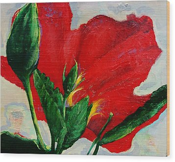 Red Hibiscus Wood Print by Jean Cormier