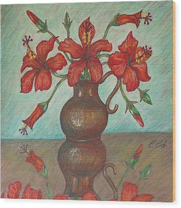 Red Hibiscus With Blue Background Wood Print by Claudia Cox