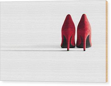 Red High Heel Shoes Wood Print by Natalie Kinnear