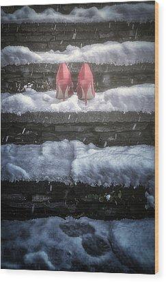 Red High Heels Wood Print by Joana Kruse