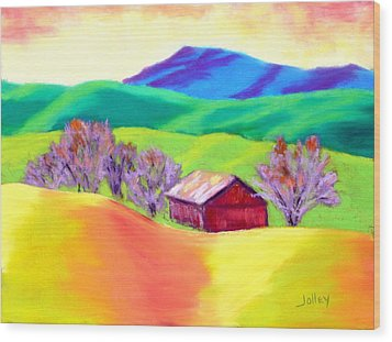 Wood Print featuring the painting Red Hill Barn by Nancy Jolley