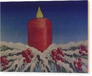 Wood Print featuring the painting Red Holiday Candle by Darren Robinson