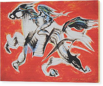 Red Horse And Rider Wood Print
