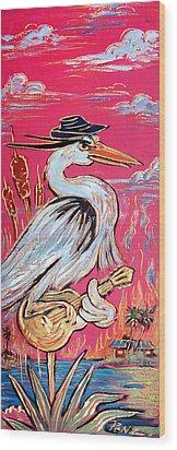 Red Hot Heron Blues Wood Print by Robert Ponzio