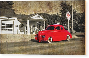 Red Hot Rod Cruising Route 66 Wood Print by Thomas Woolworth