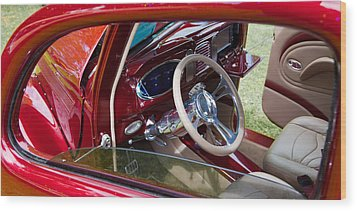 Red Hot Rod Interior Wood Print