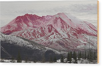 Red Hot St Helen Wood Print by Rich Collins