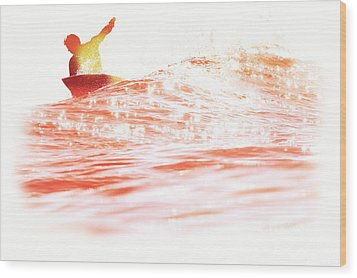 Wood Print featuring the photograph Red Hot Surfer by Paul Topp