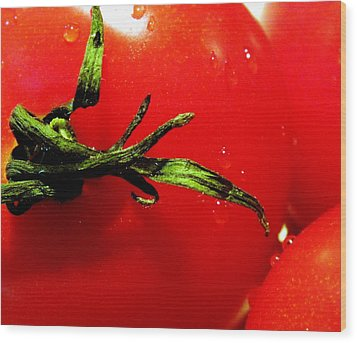 Red Hot Tomato Wood Print by Karen Wiles