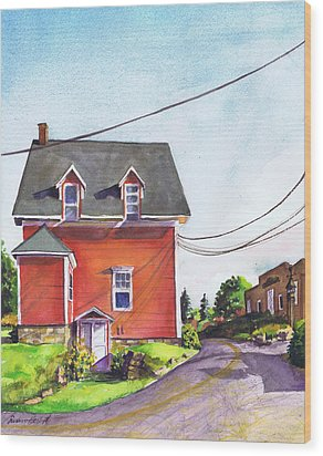 Red House Bass Harbor Wood Print by Susan Herbst