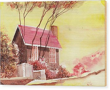 Red House R Wood Print by Anil Nene