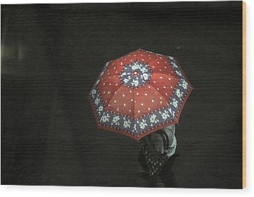Red In The Dark Wood Print by Achmad Bachtiar