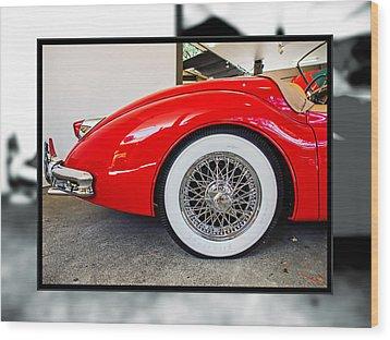 Red Jaguar Xk 140 Wood Print by SM Shahrokni