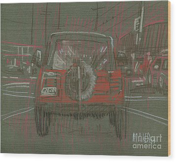 Wood Print featuring the drawing Red Jeep by Donald Maier