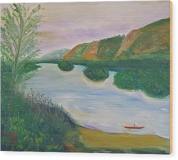 Red Kayak Wood Print by Troy Thomas
