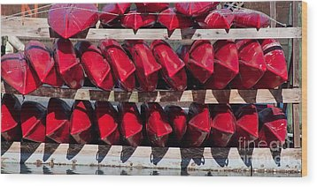Red Kayaks Wood Print by Thomas Marchessault