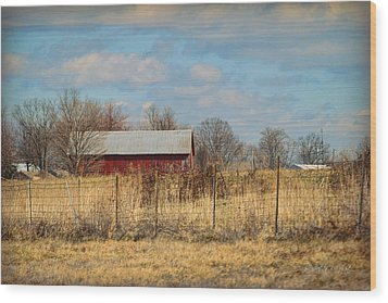 Red Kentucky Relic Wood Print by Paulette B Wright