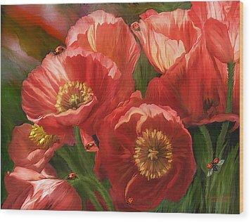Red Ladies Of Summer Wood Print by Carol Cavalaris