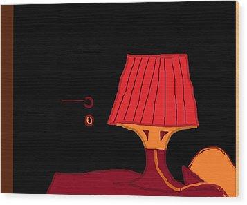 Red Lamp 10.5 Wood Print by Anita Dale Livaditis