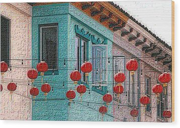 Red Lanterns Wood Print