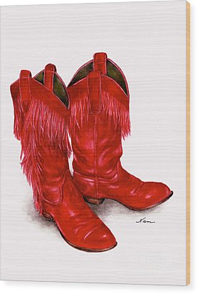 Red Leather Fringed Cowboy Boots Wood Print by Nan Wright