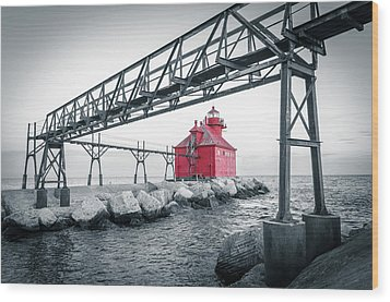 Wood Print featuring the photograph Red Light On Lake Michigan by Mark David Zahn