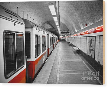 Red Line Wood Print