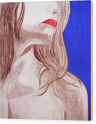 Wood Print featuring the painting Red Lips by J Anthony