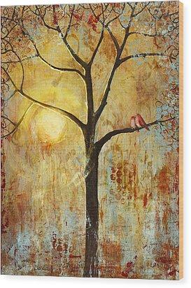 Red Love Birds In A Tree Wood Print by Blenda Studio