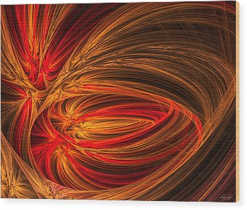 Red Luminescence-fractal Art Wood Print by Lourry Legarde