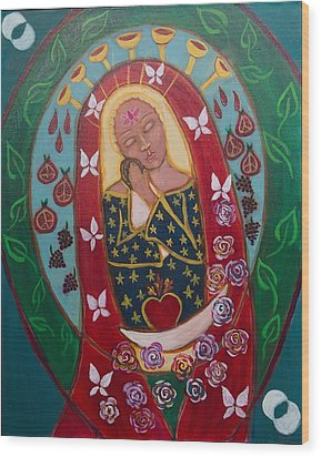 Red Madonna Wood Print by Havi Mandell