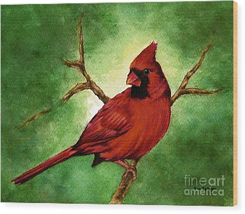 Wood Print featuring the painting Red Male Cardinal by Nan Wright