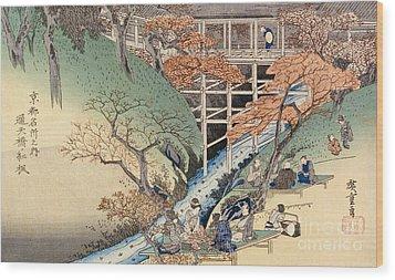 Red Maple Leaves At Tsuten Bridge Wood Print by Ando Hiroshige