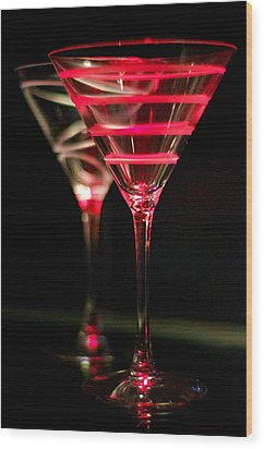 Red Martini Wood Print